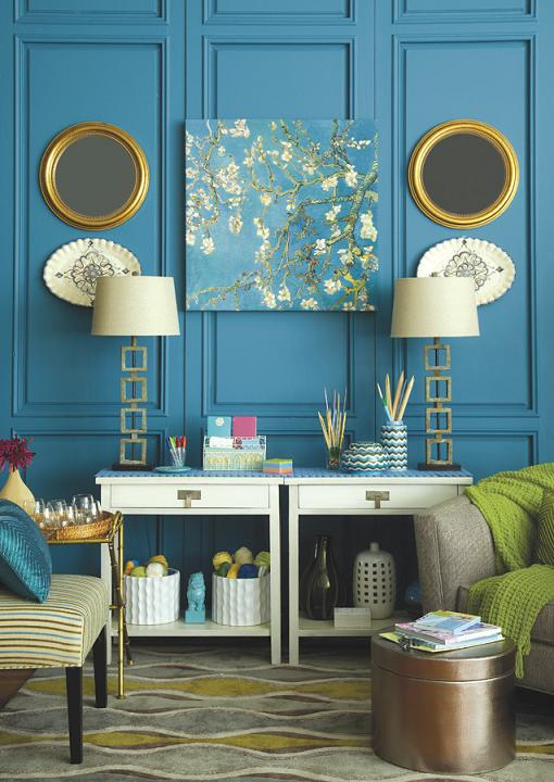 from Centsational Girl - teal paneled blue wall with white green and gold accessories