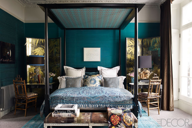 teal bedroom elle decor