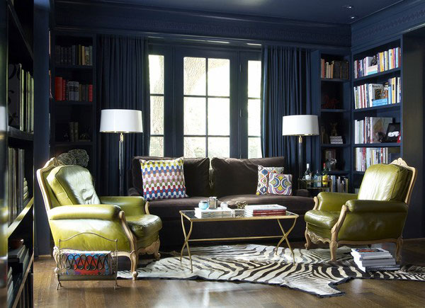 interior-design-secrets-new-dark-blue-wall-green-classic-chair-zebru-rug-patterned